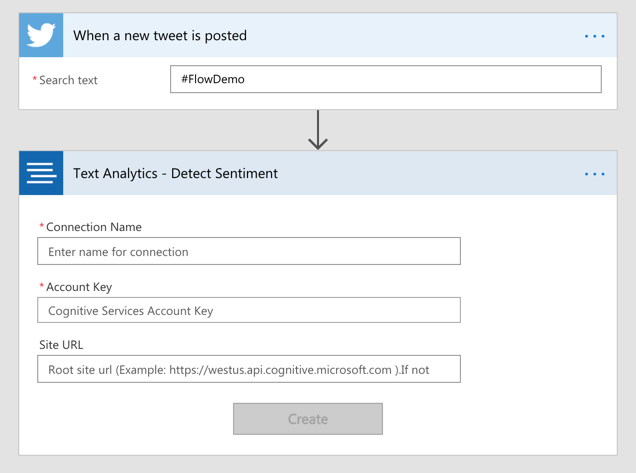 Monitor social media with Microsoft Flow and the Azure Text