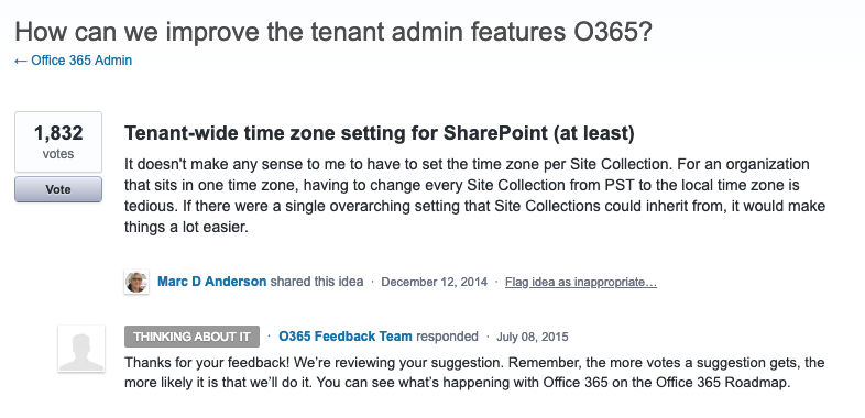 Set default timezone for SharePoint sites in the new